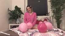 Teen Jennin plays with balloons