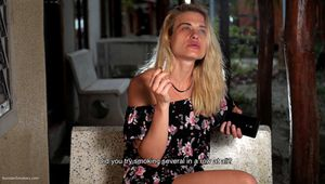 35 y.o. Alyona is smoking and giving an interview about her smoking experience