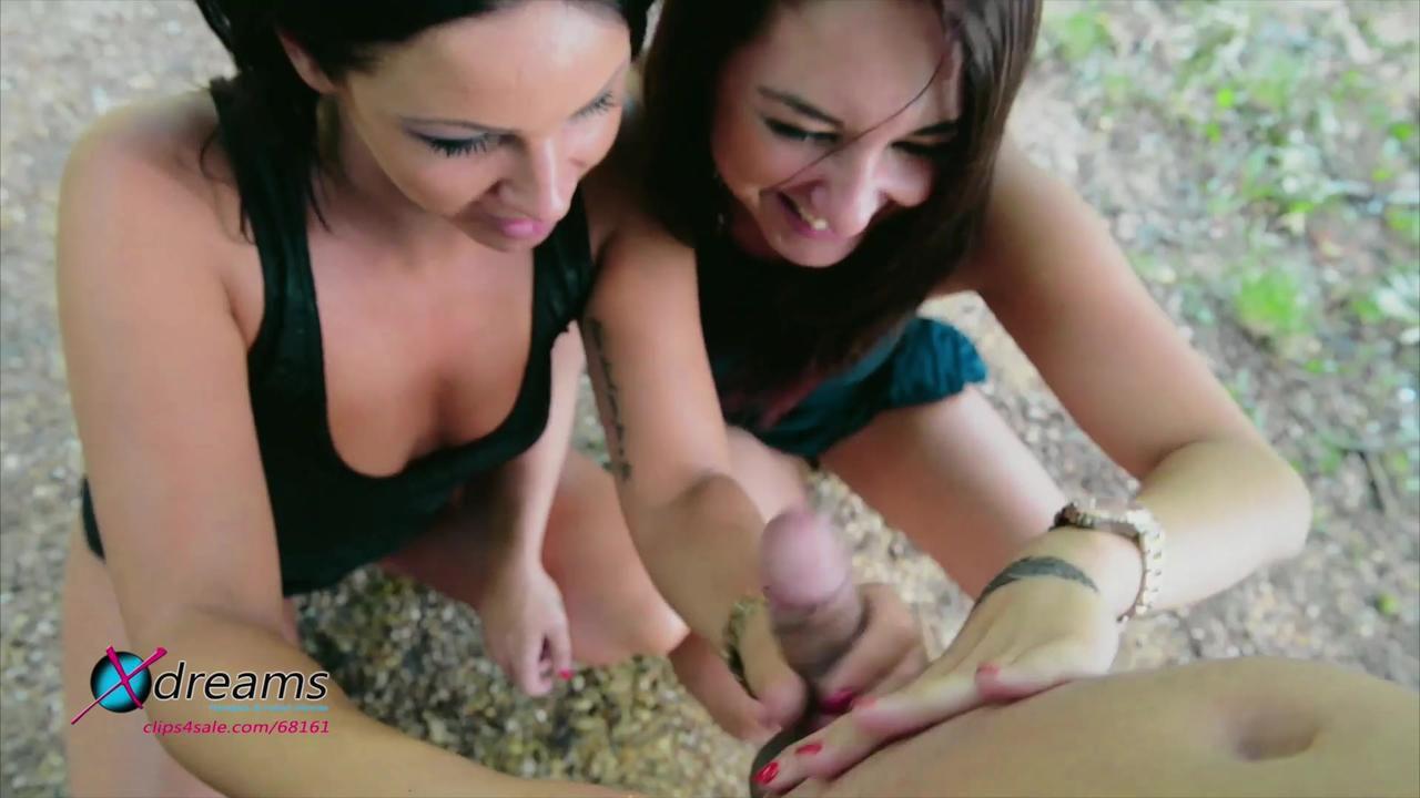 Handjob Public - VIER HÄNDE - Perfekte Mädchen und eine große Ladung Sperma
