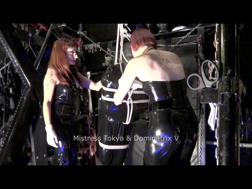 Bondage Gyroscope Clip 5 - Electro CBT and NT in rubber Shibari suspension