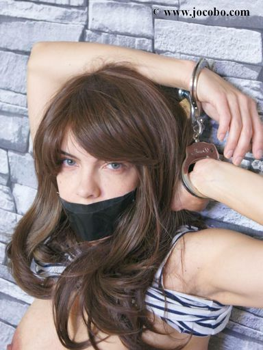 Tapegagged Juliette In Jeans And Handcuffs