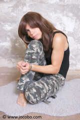 Shackled Girl In Army Look