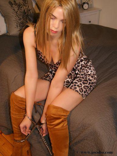 Blonde In Cuffs & Thigh High Boots