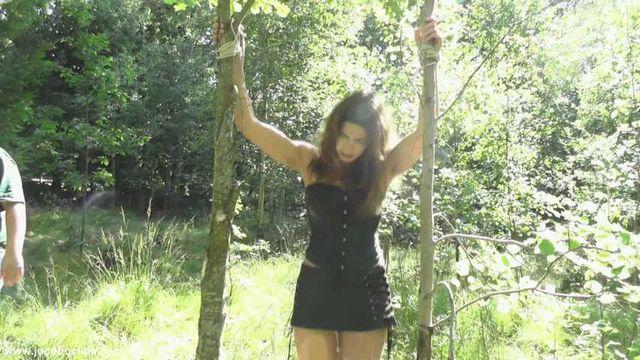 Leather Bitch Tied Outdoors