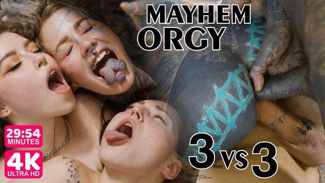 Group Orgy 3 on 3. Anal, DP, blowjob, hardcore fucking tattooed teens