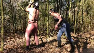 Gumboot training in the middle of the woods