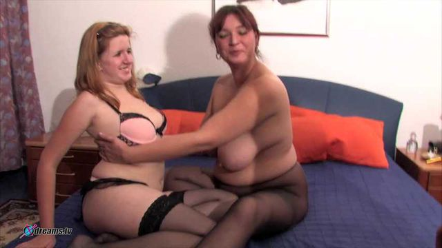 Threesome Action With Curvy Blonde And Brunette BBW