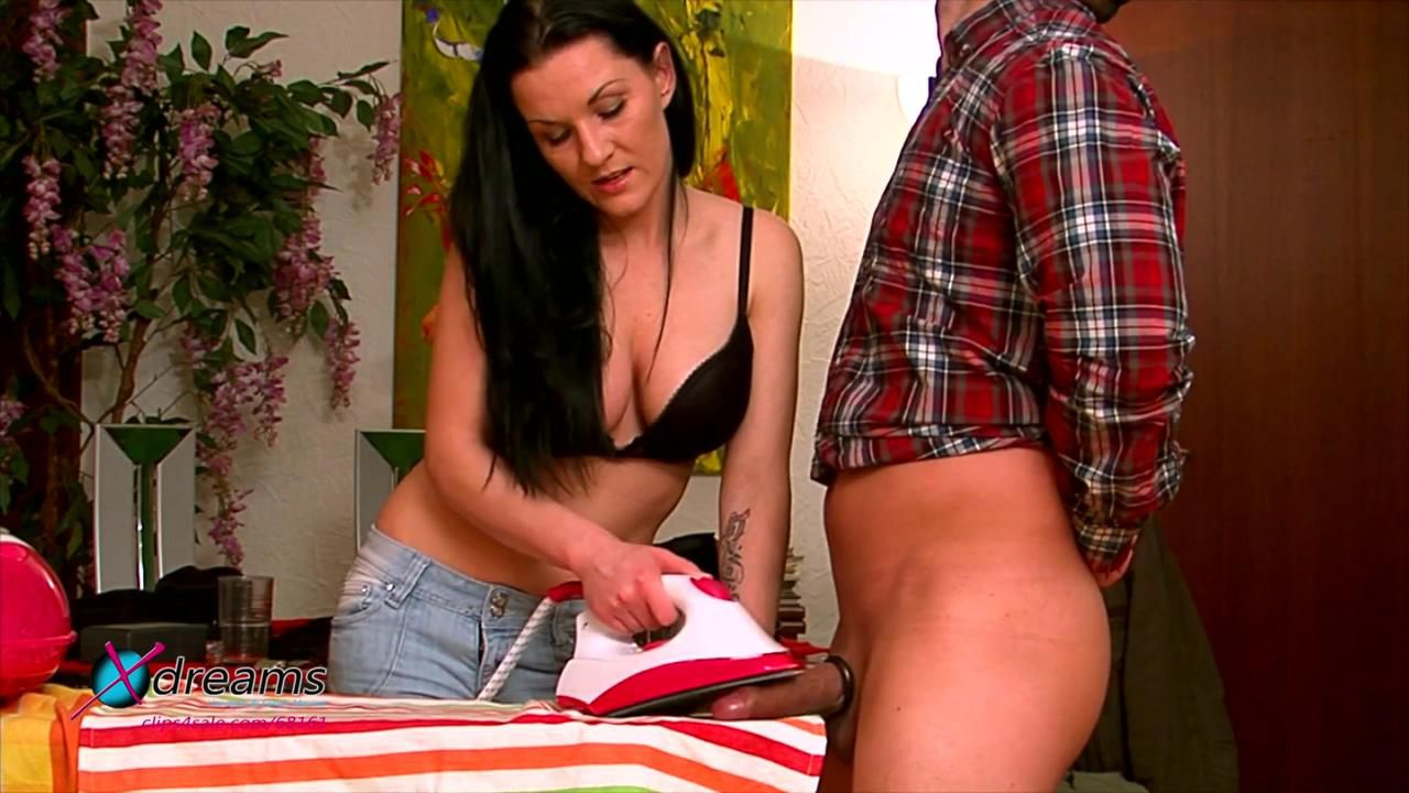 Mia's Ironing Handjob - Perfect Cum On Hot Iron