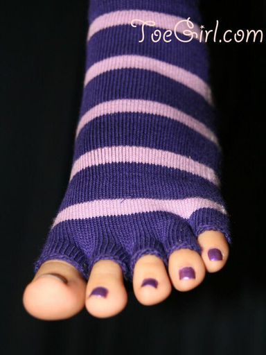 Purple Pedicure in Toe Socks
