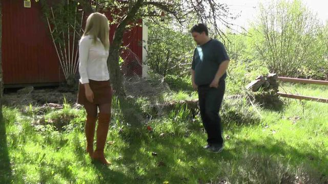 Blonde Girl Cuffed By Gardener
