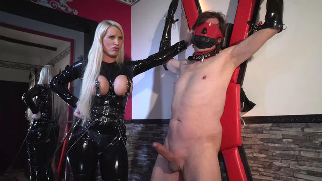 Horny pig interrogated on the cross