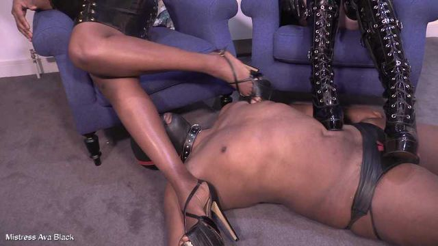 Worshipping shiny Mistresses' shoes - Part Four