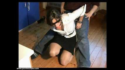 White Blouse Handcuffed Handjob