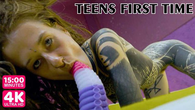 Tattooed teens toy blowjob and fuck, testing big toy in her mouth and pussy