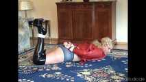 Hogtied in black and red