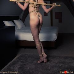 """I just made another sale of """"Anal predicament """"!<br /><br />Together with Spring we have a beautiful loft with wooden beams at our disposal and I plan to make some real good use of it! For starters I tie Spring, spread-arms, to a bamboo pole....<br /><br />👉http://clubropemarks.com/1061982137👈 #Shopmaker"""