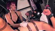 Mistress Tokyo - slave in the sling with f*cking machine and nipple play
