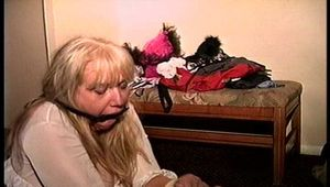 50 Yr OLD REAL ESTATE AGENT IS RING GAGGED, BALL-TIED, BODY, NECK, TIT & MOUTH TICKLED, HANDGAGGED, MOUTH STUFFED, CLEAVE GAGGED, BAREFOOT, TOE-TIED AND DUCT TAPE GAGGED  (D75-16)