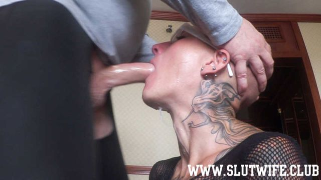 [Blow'n'Gag] Submissive bald headed slave Vlija enjoys a rough facefuck training session