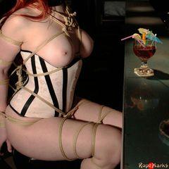 Hard Liquor #RopeMarks #Necia #Navine #Katzen #Von #Sterling #Korsakoff #Bar #Japanese #Rope #bondage #Shibari #Kinbaku #Red #Head #Sexy #Corset #Collar #Gag #Drool #Drooling #Ballet #Ballets