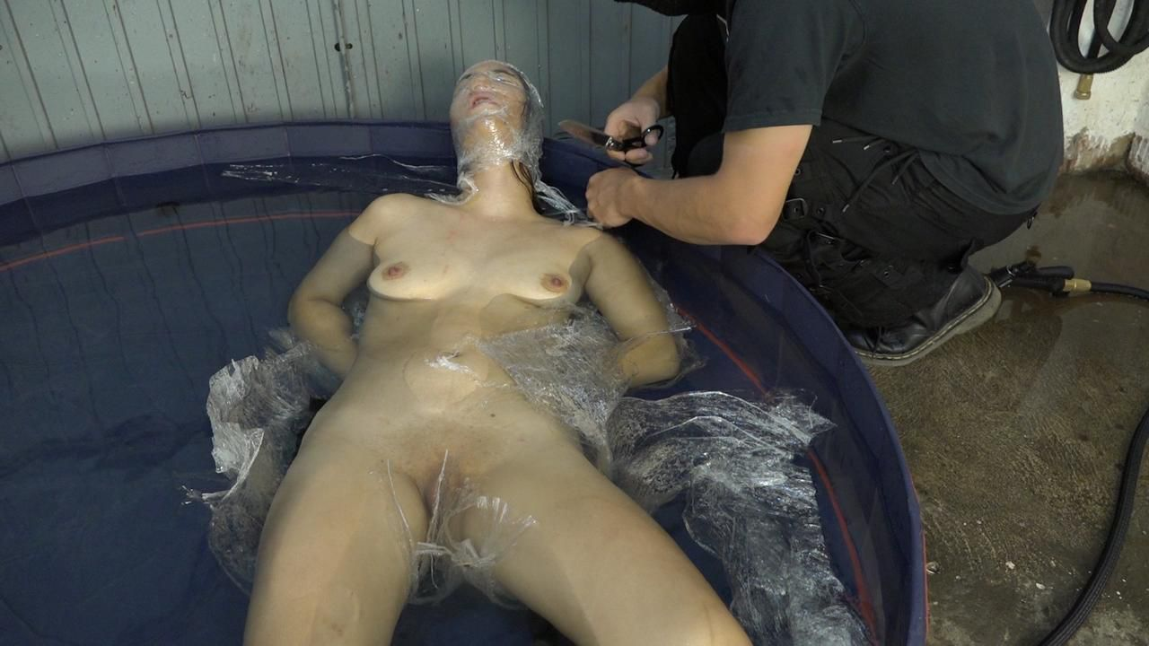 With cling film in the water