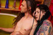 Dreadhead couple sharing love and physical pleasure