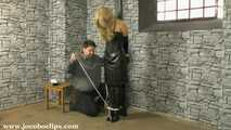 Blonde Leatherbitch Tied At The Dungeon