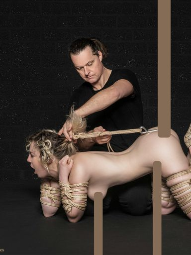 Kama anal-hooked and suspended