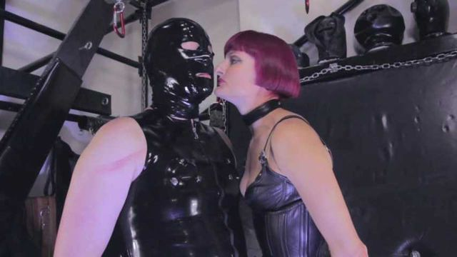 Mistress Tokyo - Leather Domme with latex slave in inverted suspension with CBT and anal play
