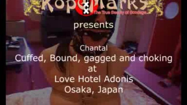 Chantal bound, gagged and collared at Love Hotel Adonis, Osaka, Japan