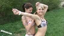 Merry & Nina Outdoor lesbians Fun and Blowjob
