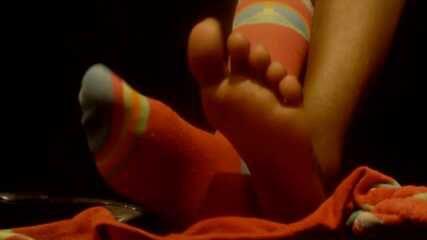 Pink sweat socks fetish