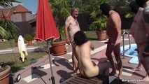 Jasmin Babe fucks in the nudist villa by the pool