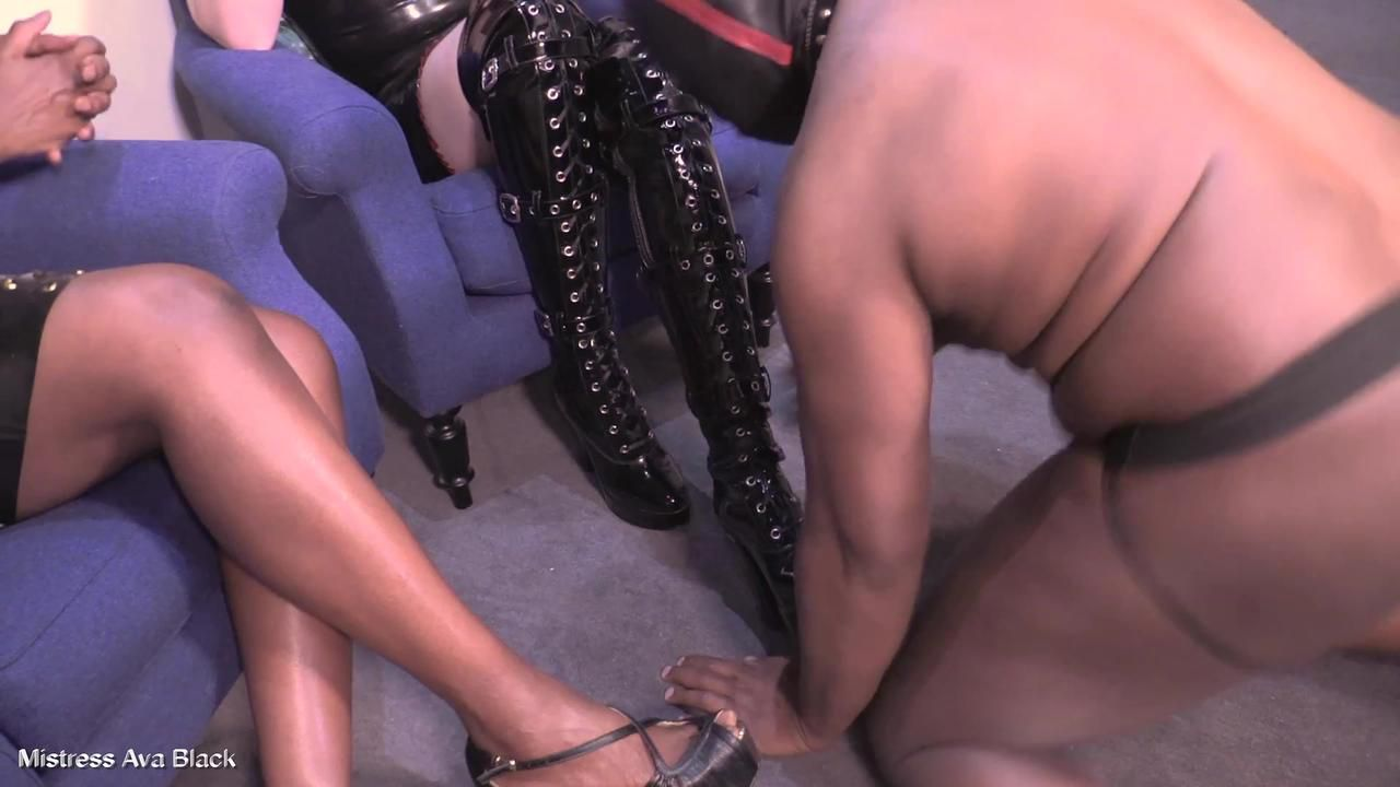 Worshipping shiny Mistresses' shoes - Full clip