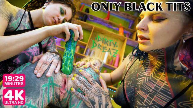 Tattooed teens threesome. Toy fuck, DP, anal gape, prolapse, orgy
