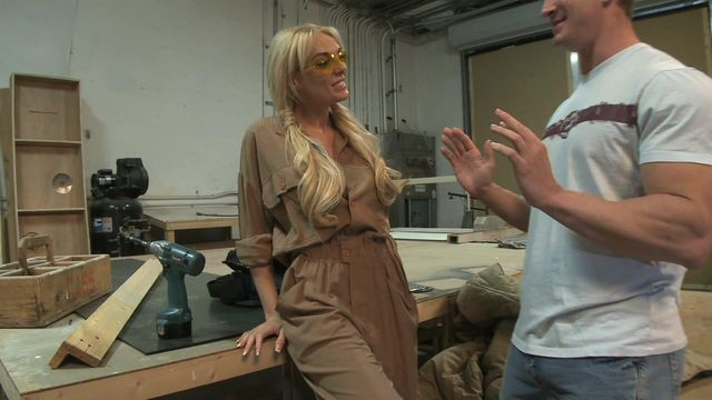Stacked Slutty Stacy Fucks Blue Collar Buddy In The Workshop