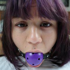 Amelia Dire in Purple Bondage #bdsm #kink #pornactress #ameliadire #girlnextdoorlingerie #bondage