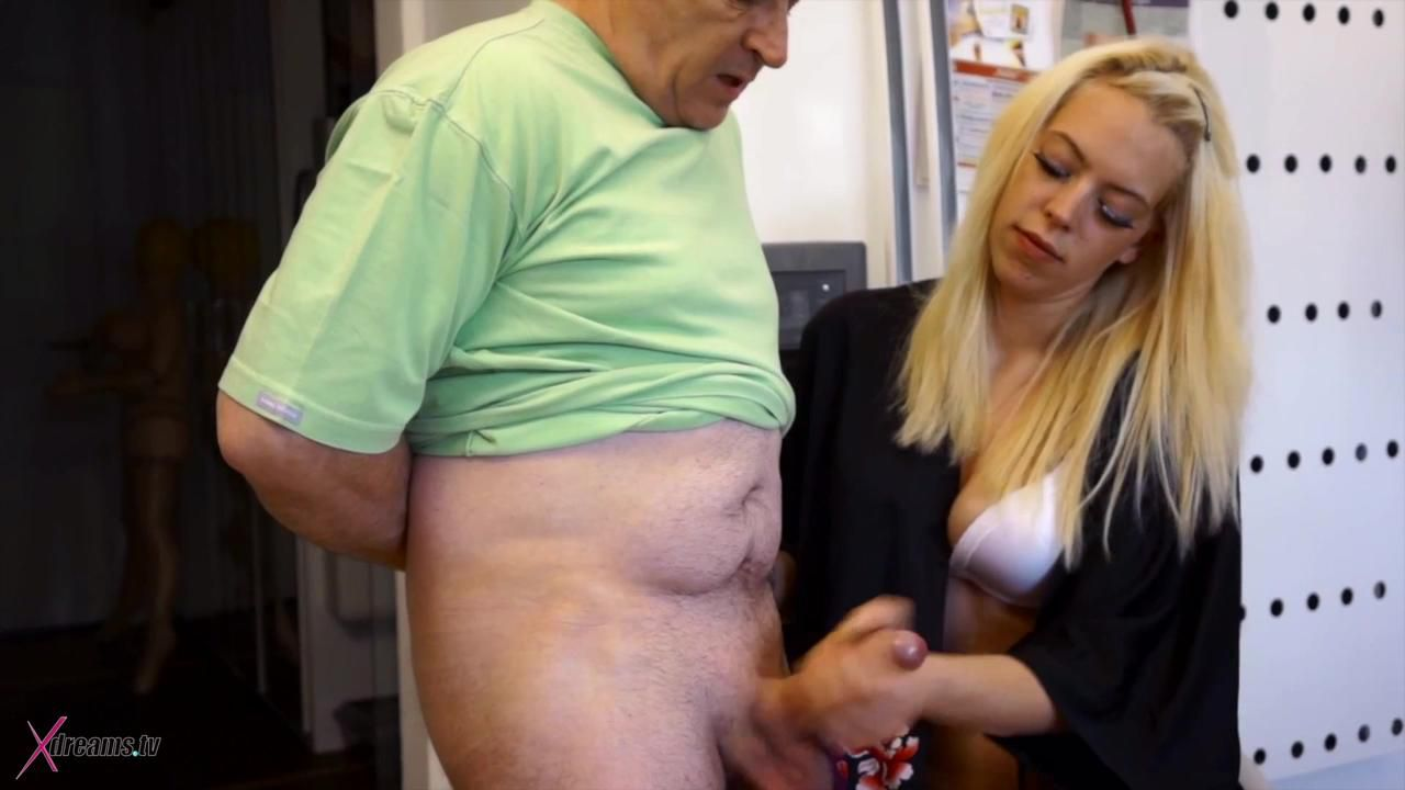 Penny's Nylons Jerking Handjob For Her Stepdad