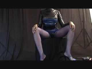 Latex dominatrix plays with your penis