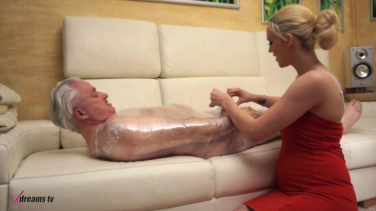 Penny, Handjob To Denial The Orgasm Of His In Stretch Foil Packed Old Fart